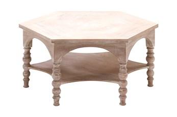 Light Wood Round Pilar Coffee Table