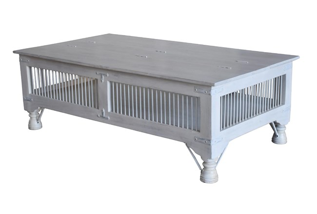 White Wash Storage Coffee Table - 360