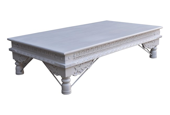 White Wash Rectangle Wood Coffee Table - 360