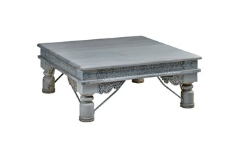 White Wash Square Wood Coffee Table