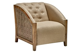 Light Wood + Brass Curved Arm Chair