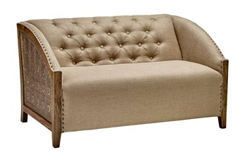 "Light Wood + Brass Curved Arm 54"" Loveseat"