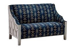 White Wash Wood Frame + Blue Patterned Loveseat