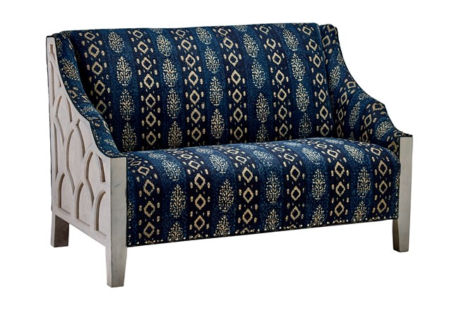 White Wash Wood Frame + Blue Patterned Loveseat  - 360