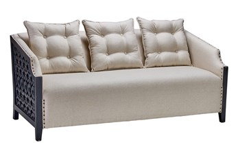 "Black + White Metal Frame 70"" Loveseat"