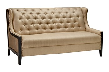 "Dark Wood + Brass Side 70"" Loveseat"