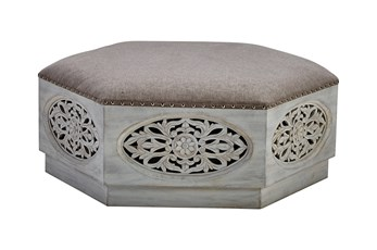 White Wash Round Hexagon Carved Ottoman