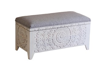 White Wash Hand Carved Grey Upholstered Bench