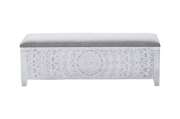 White Wash Hand Rectangle Carved Grey Upholstered Bench