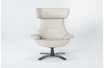 Raiden Mushroom Grey Leather Reclining Swivel Chair