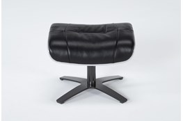 Raiden Black Leather Ottoman