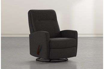 Dale IV Flint Fabric Swivel Glider Recliner