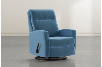Dale IV Navy Fabric Swivel Glider Recliner