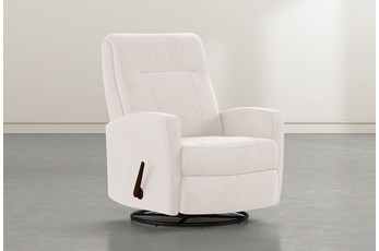 Dale IV Ivory Fabric Swivel Glider Recliner