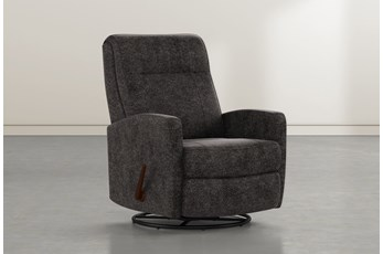 Dale IV Midnight Fabric Swivel Glider Recliner