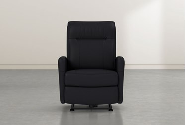 Dale IV Black Leather Power Wallaway Recliner With Power Headrest