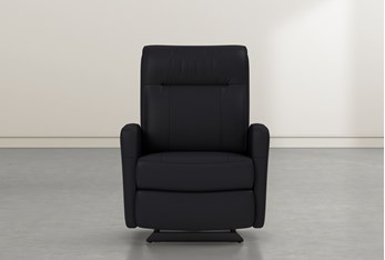 Dale IV Black Leather Power Rocker Recliner With Power Headrest