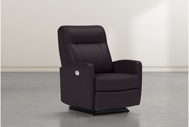 Dale IV Chocolate Leather Power Rocker Recliner With Power Headrest