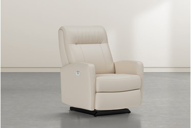 Dale IV Ivory Leather Power Rocker Recliner With Power Headrest