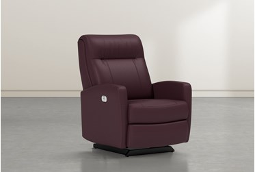 Dale IV Burgundy Leather Power Rocker Recliner With Power Headrest