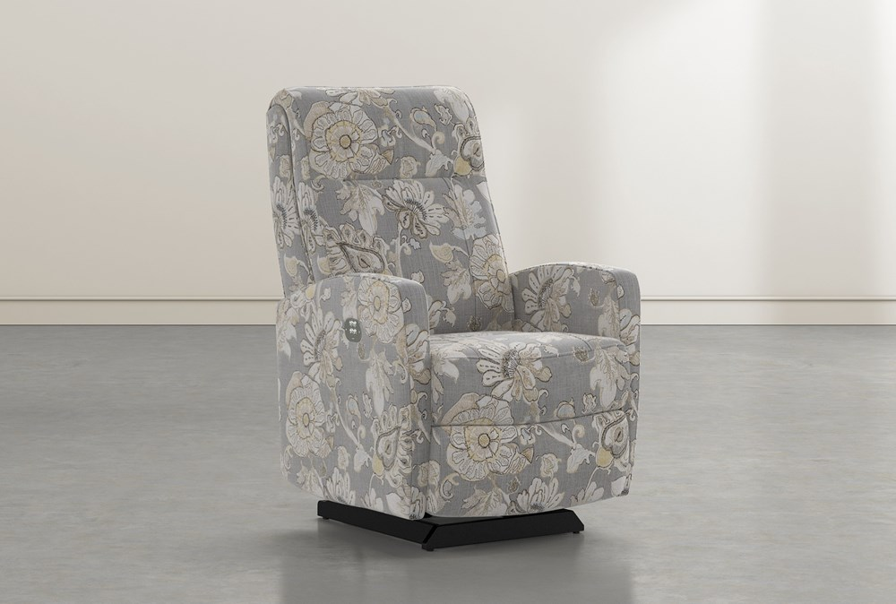 Dale IV Granite Fabric Power Rocker Recliner With Power Headrest