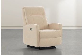 Dale IV Almond Fabric Power Rocker Recliner With Power Headrest
