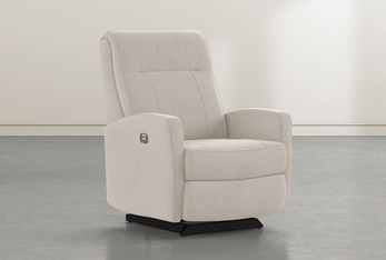 Dale IV Taupe Fabric Power Rocker Recliner With Power Headrest