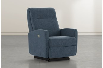 Dale IV Denim Fabric Power Rocker Recliner With Power Headrest