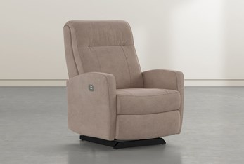 Dale IV Putty Fabric Power Rocker Recliner With Power Headrest