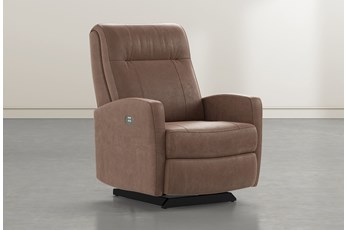 Dale IV Brown Fabric Power Rocker Recliner With Power Headrest