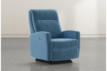 Dale IV Navy Fabric Power Rocker Recliner With Power Headrest