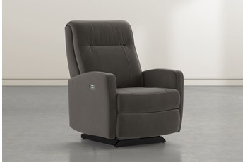 Dale IV Dark Grey Fabric Power Rocker Recliner With Power Headrest