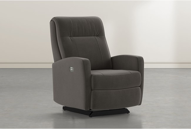 Dale IV Dark Grey Fabric Power Rocker Recliner With Power Headrest - 360