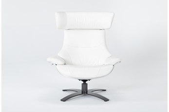 Raiden White Leather Reclining Swivel Chair