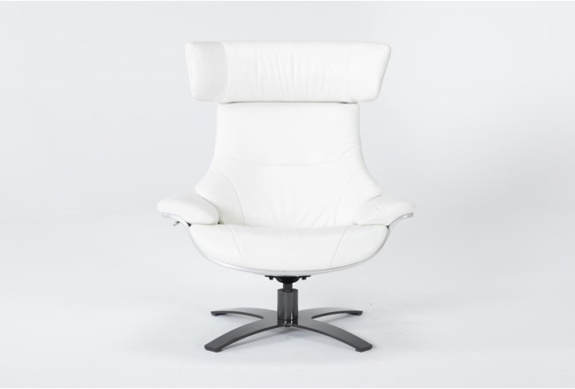 Raiden White Leather Reclining Swivel Chair - 360