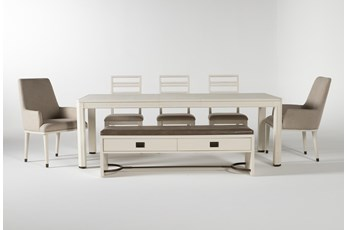 Centre 7 Piece Extension Dining Set With Side, Arm Chrs And Bench By Nate Berkus And Jeremiah Brent