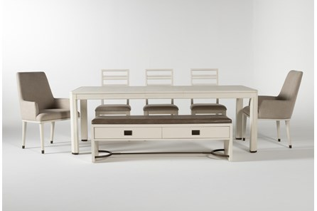 Centre 7 Piece Extension Dining Set With Side, Arm Chrs And Bench By Nate Berkus And Jeremiah Brent - Main