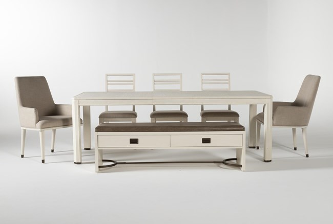 Centre 7 Piece Extension Dining Set With Side, Arm Chrs And Bench By Nate Berkus And Jeremiah Brent - 360