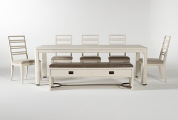 Centre 7 Piece Extension Dining Set With Side Chairs And Bench By Nate Berkus And Jeremiah Brent