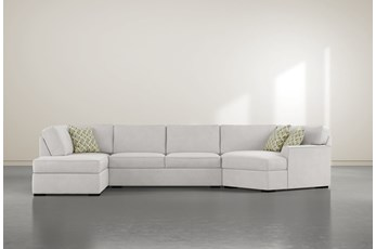"""Aspen Sterling Foam 3 Piece 163"""" Sectional With Left Arm Facing Armless Chaise"""