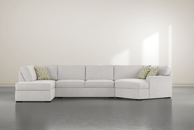 """Aspen Sterling Foam 3 Piece 163"""" Sectional With Left Arm Facing Armless Chaise - 360"""