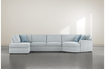 """Aspen Tranquil Foam 3 Piece 163"""" Sectional With Left Arm Facing Armless Chaise"""