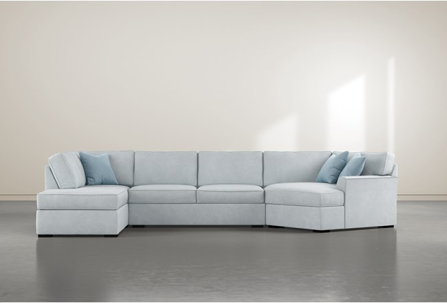 """Aspen Tranquil Foam 3 Piece 163"""" Sectional With Left Arm Facing Armless Chaise - 360"""