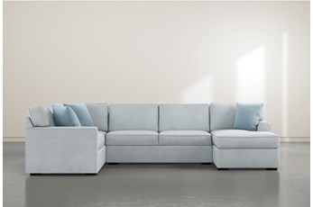"""Aspen Tranquil Foam 3 Piece 134"""" Sectional With Right Arm Facing Chaise"""
