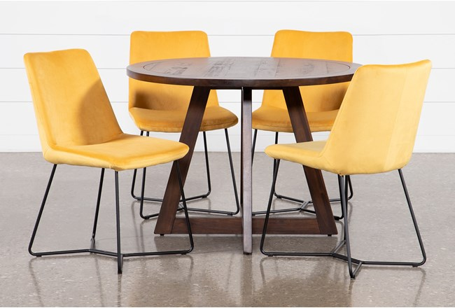 Cleve 5 Piece Dining Table With Sable Yellow Side Chairs - 360