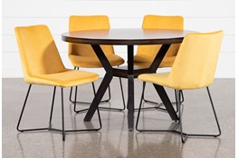 Macie Black 5 Piece Dining Set With Sable Yellow Side Chairs
