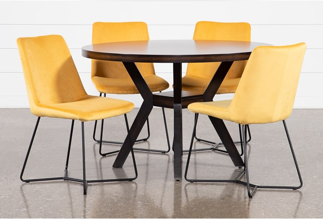 Macie Black 5 Piece Dining Set With Sable Yellow Side Chairs - 360
