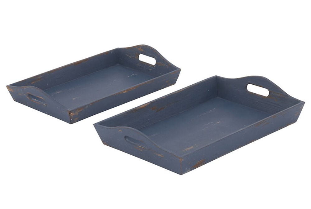 Blue Wood Tray Set Of 2