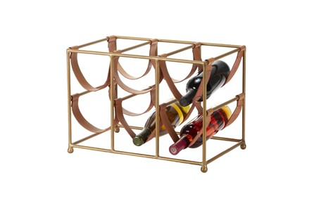 Gold Metal + Leather Strap Wine Rack - Main