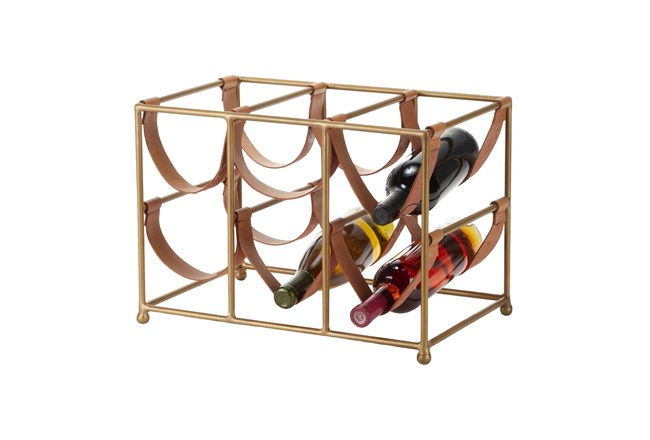 Gold Metal + Leather Strap Wine Rack - 360